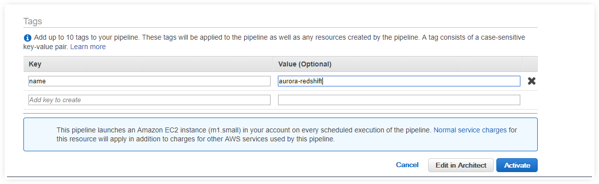 aurora to redshift migrate data aws data pipeline