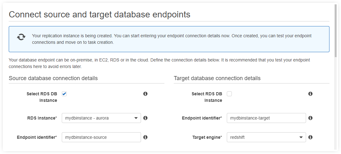 connect source target database for aurora to redshift