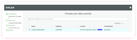data sources dynamodb to s3