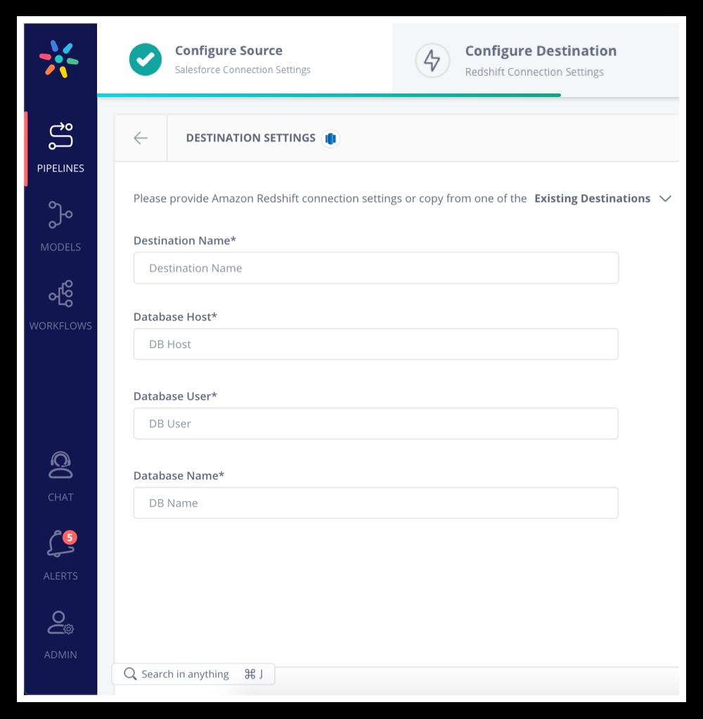 Salesforce to Redshift - Configuring a Destination