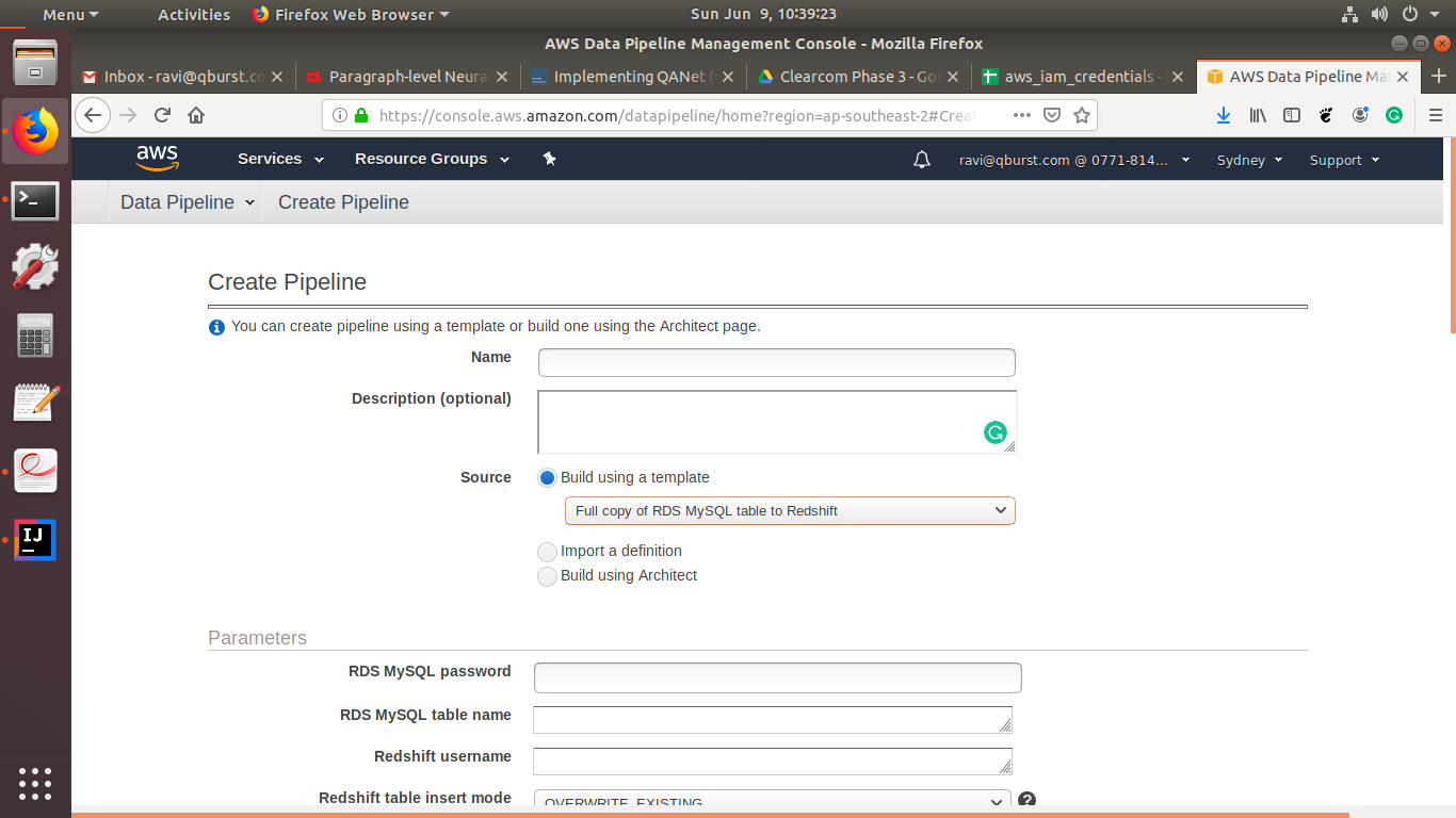 Choosing a Built In Template on AWS Data Pipeline